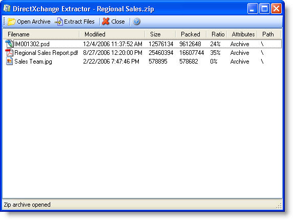 DirectXchange Extract Window